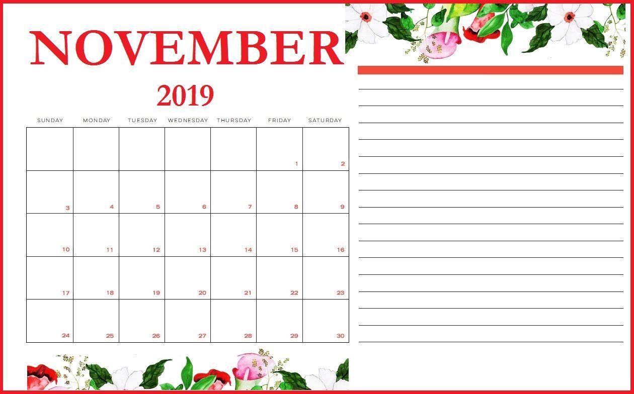 Floral November 2019 Printable Calendar