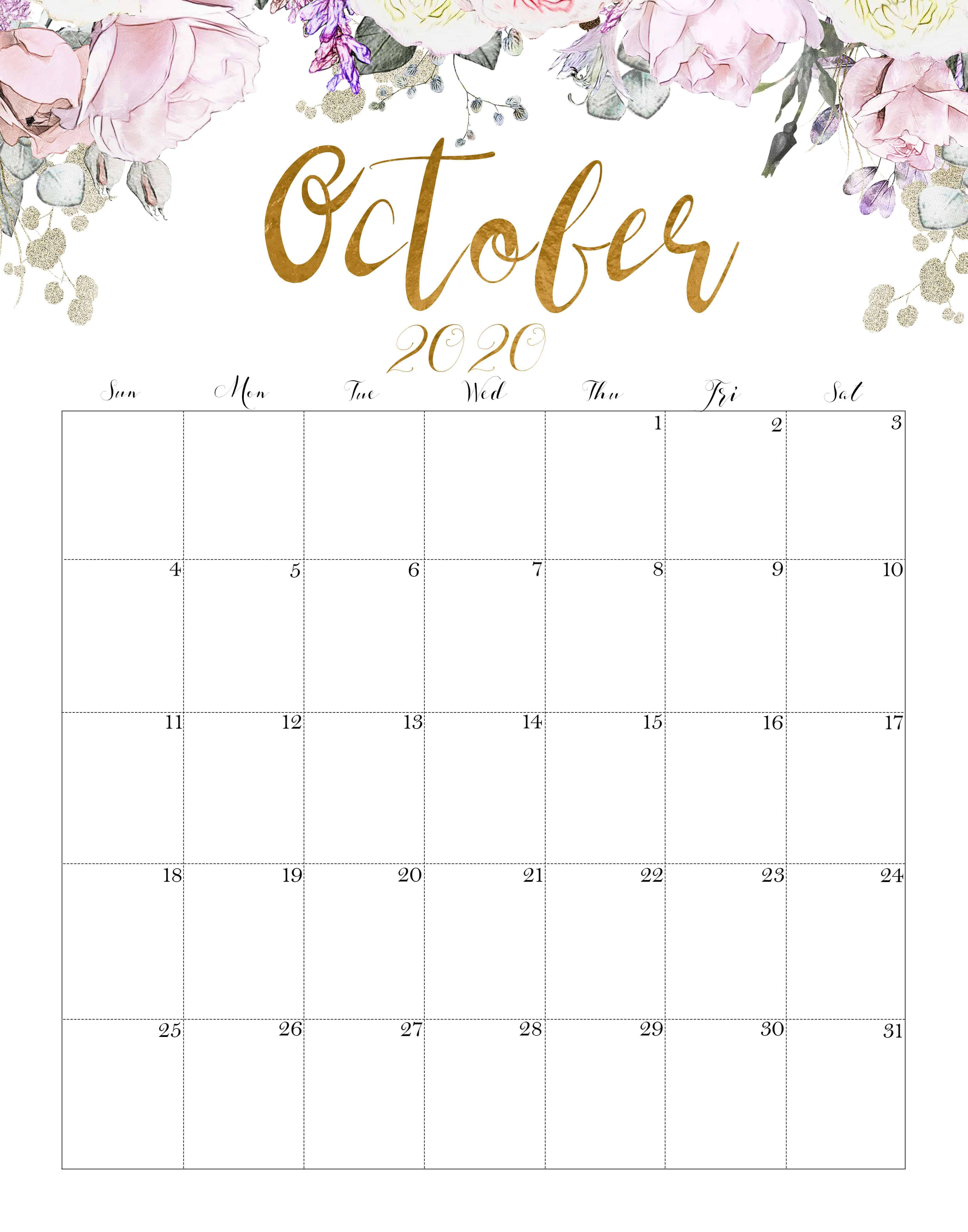 Floral October 2020 Calendar Printable