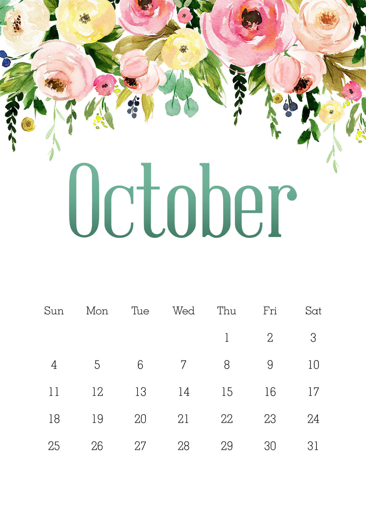 Floral October 2020 Wall Calendar Template