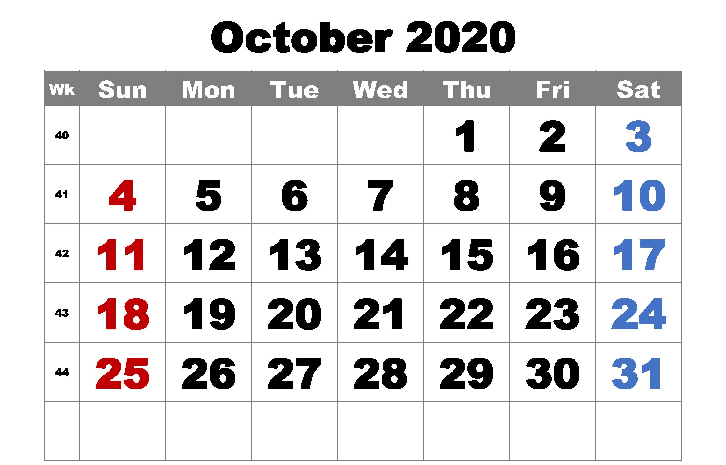 Free Printable October 2020 Calendar Word