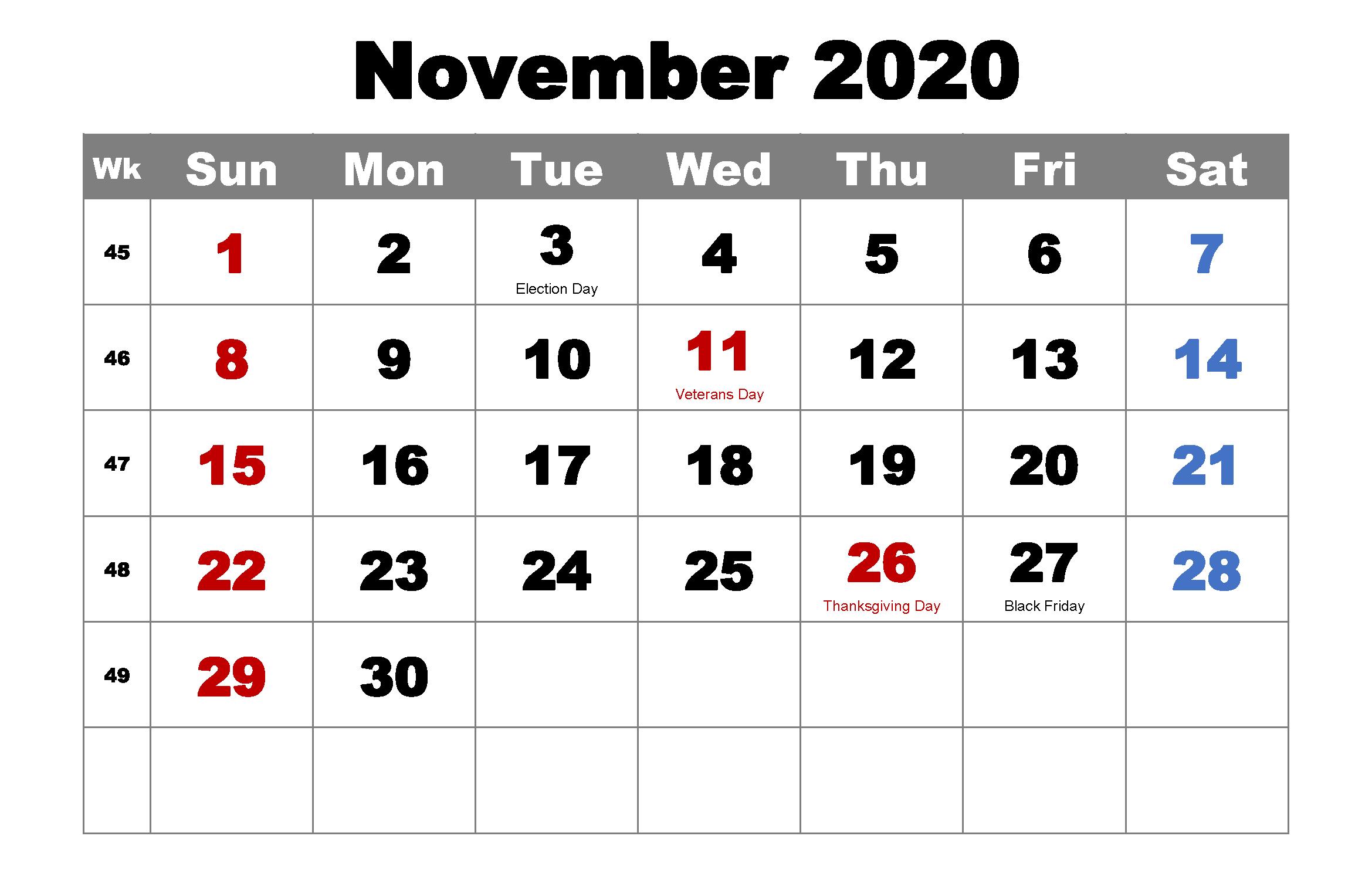 Holidays Calendar Template November 2020