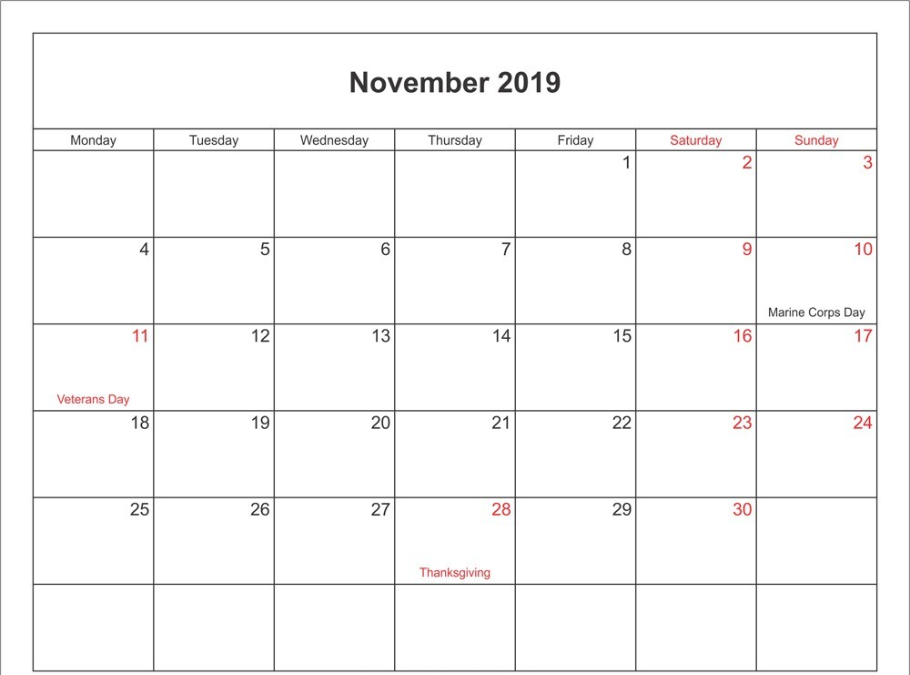 Holidays Calendar for November 2019 UK