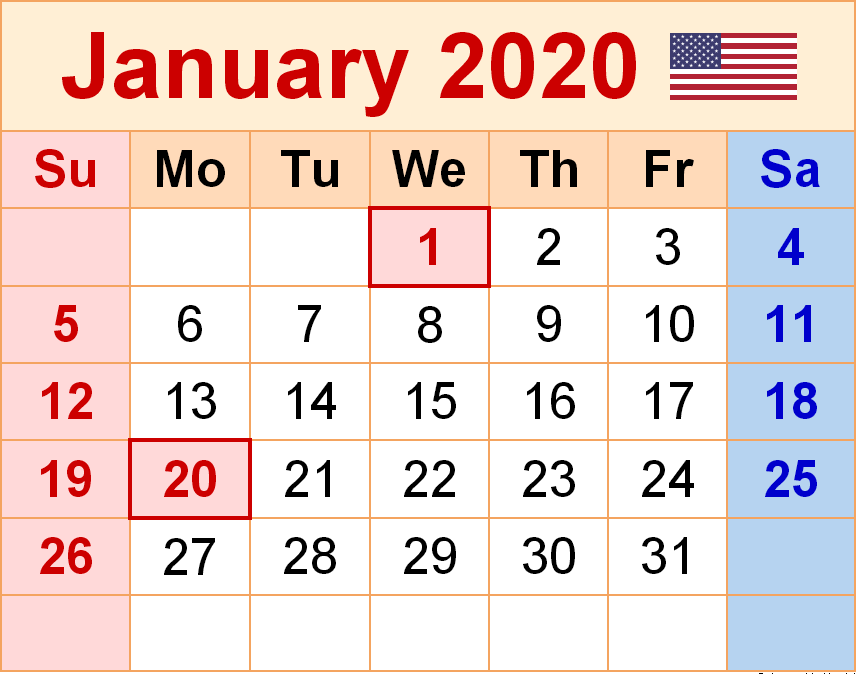 January 2020 Calendar US Holidays