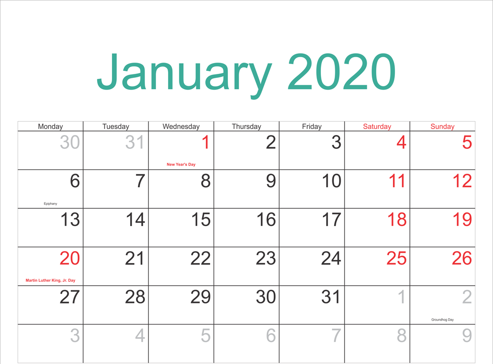 January 2020 Holidays Calendar