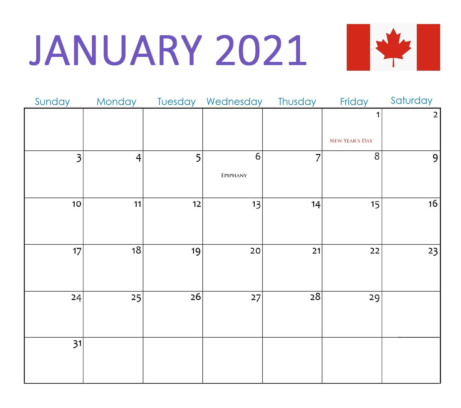 January 2021 Calendar Canada with Holidays