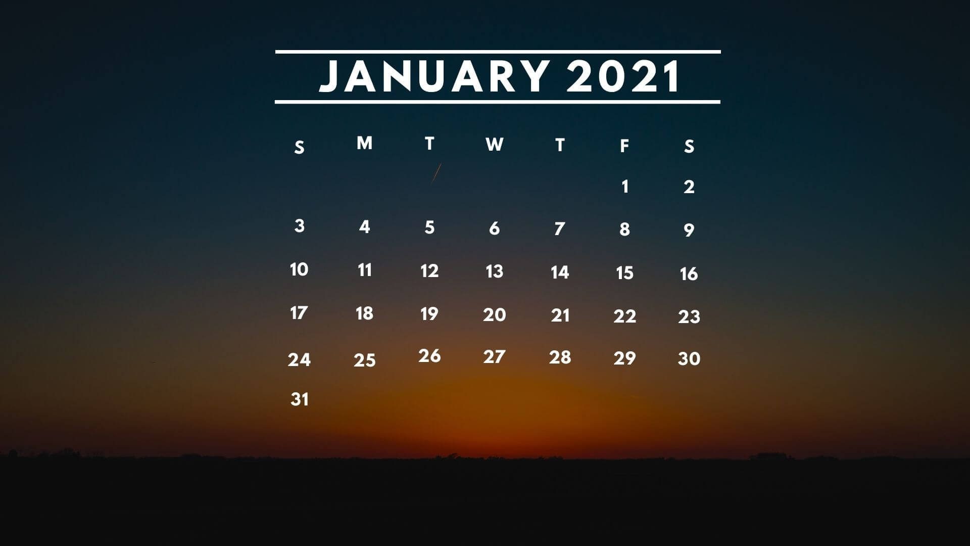 January 2021 Calendar Wallpaper