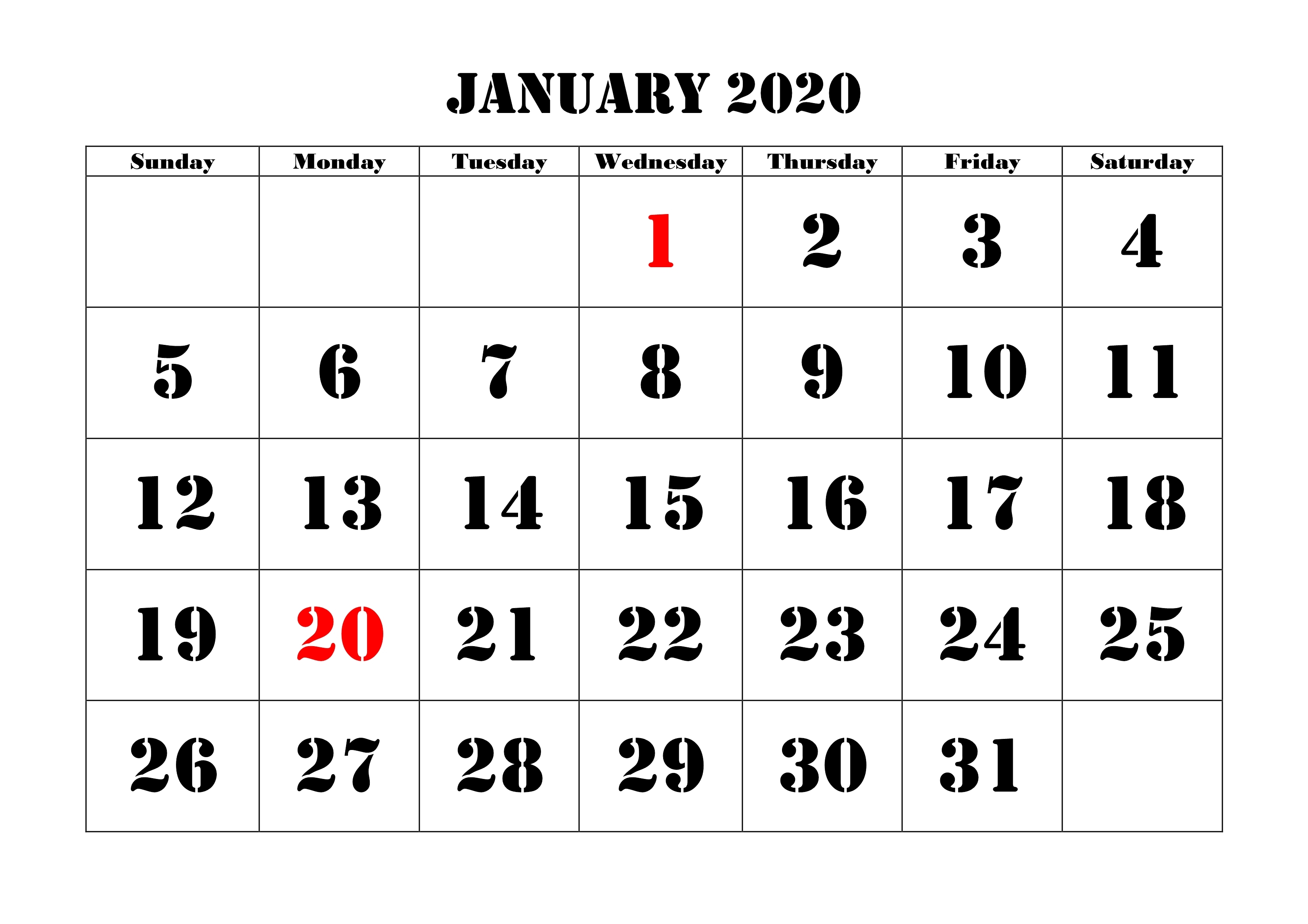 January Calendar 2020 Monthly Template