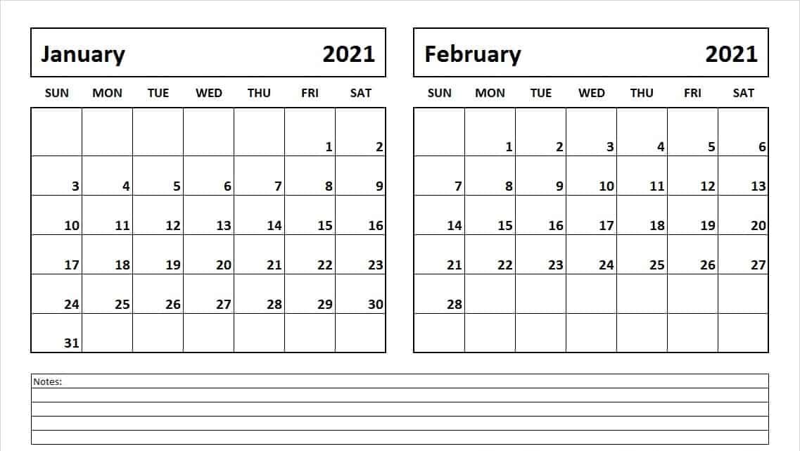 January February 2021 Blank Calendar