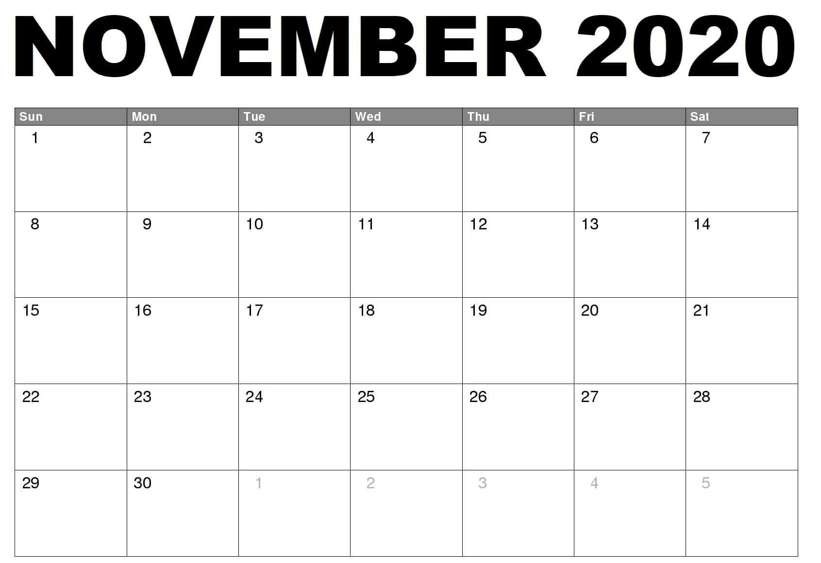 Monthly Blank Calendar November 2020