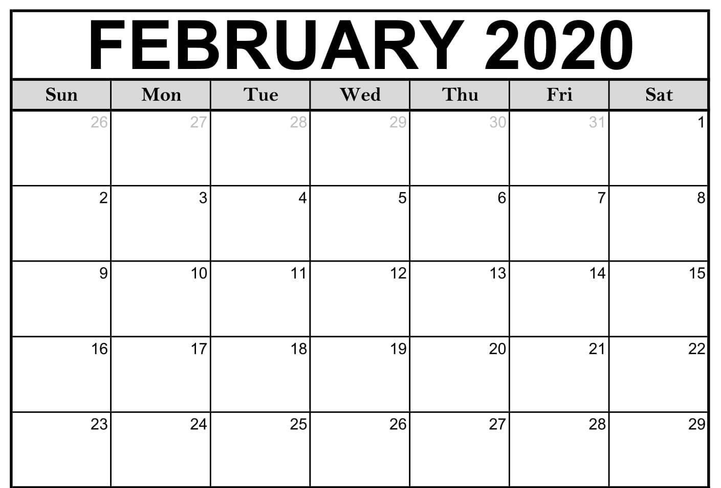 Monthly February 2020 Calendar