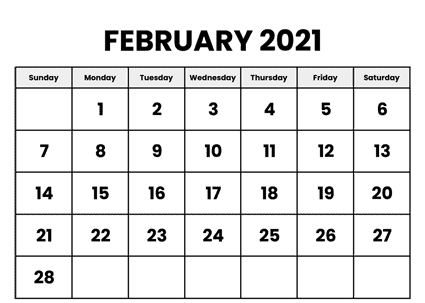 Monthly February 2021 Calendar PDF