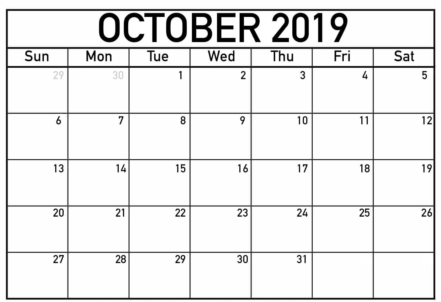 Monthly Printable Calendar October 2019