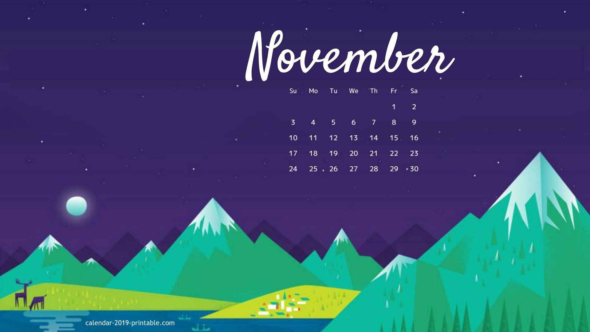 November 2019 Calendar Desktop Wallpaper