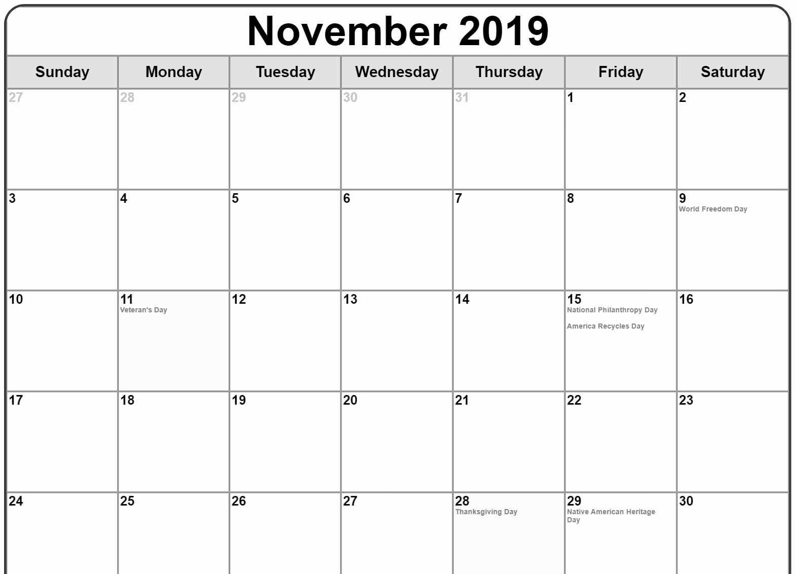 November 2019 Calendar With Holidays Printable