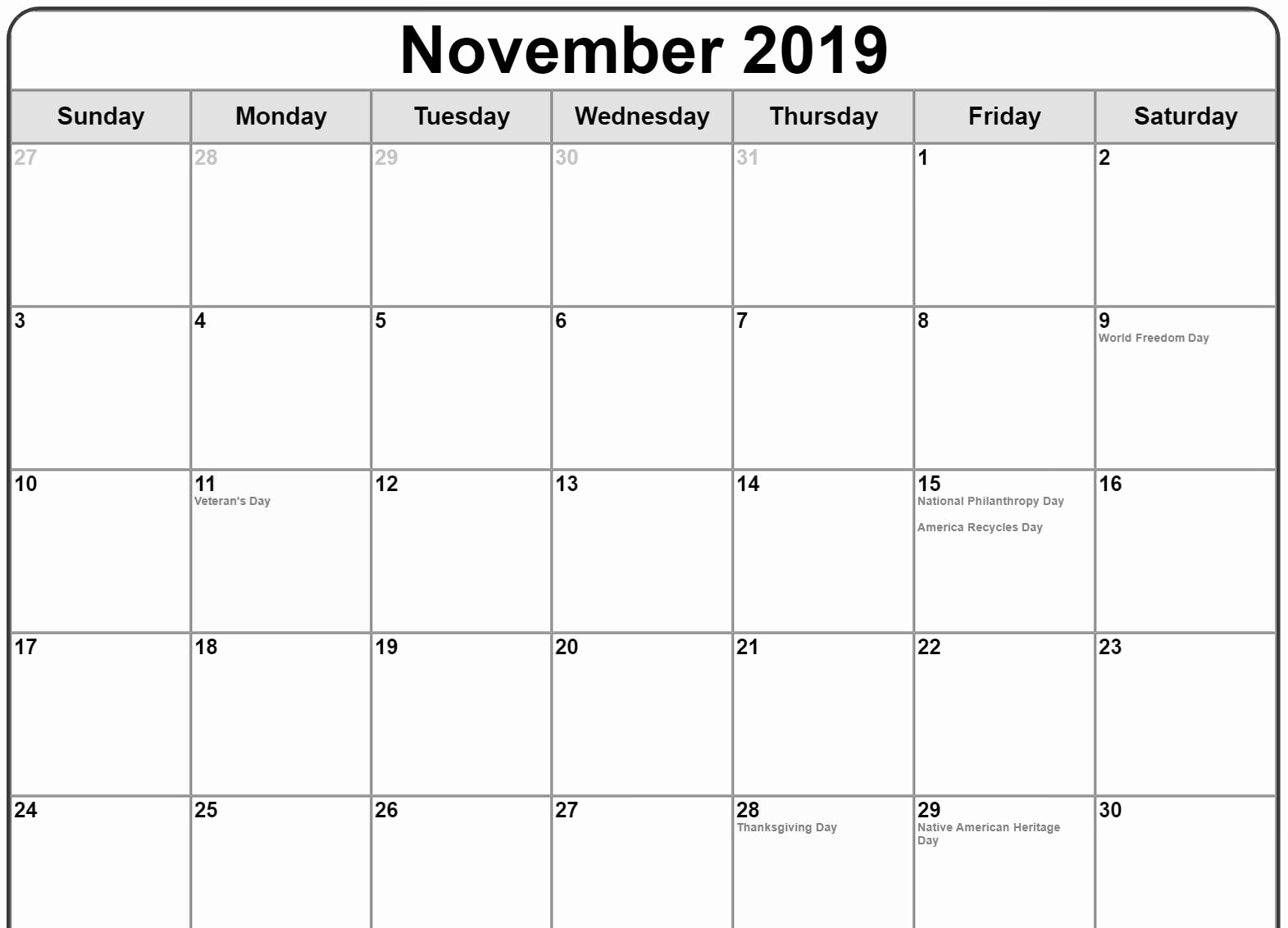November 2019 Calendar with Holidays UK