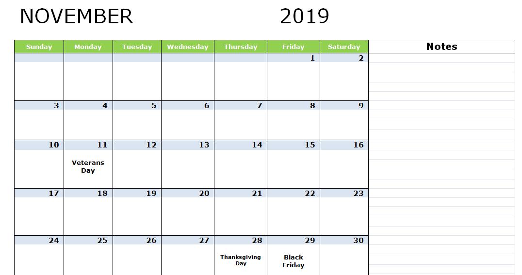 November 2019 Holidays Calendar Template