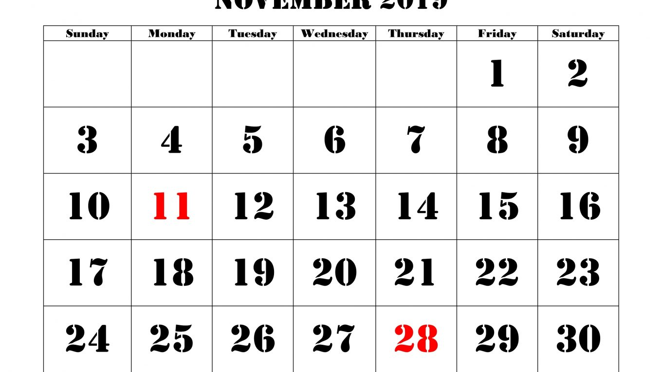 November 2019 Holidays Calendar US