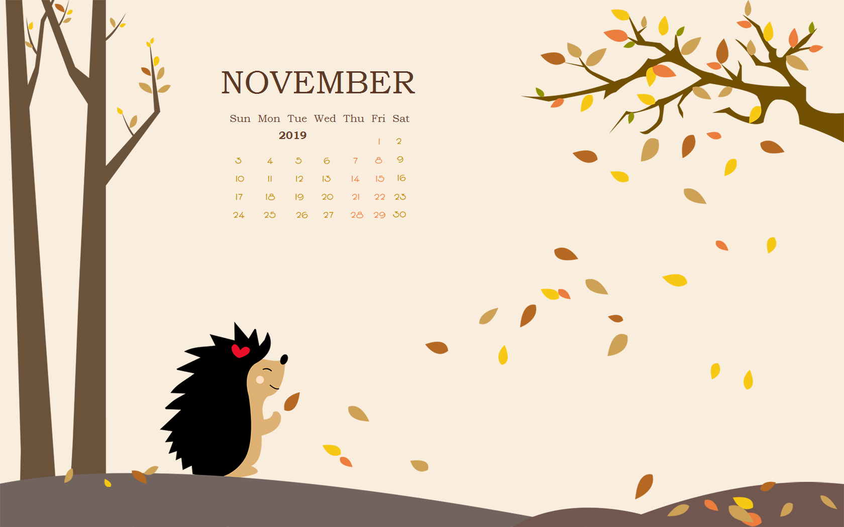 November 2019 Screensaver Calendar Wallpaper