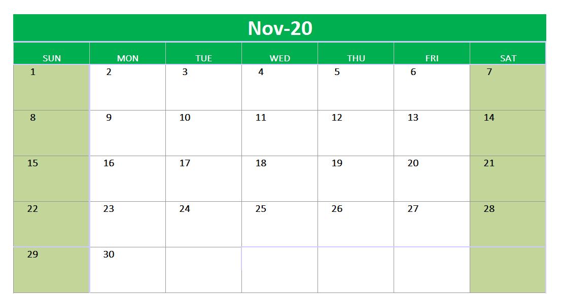 November 2020 Blank Calendar Excel