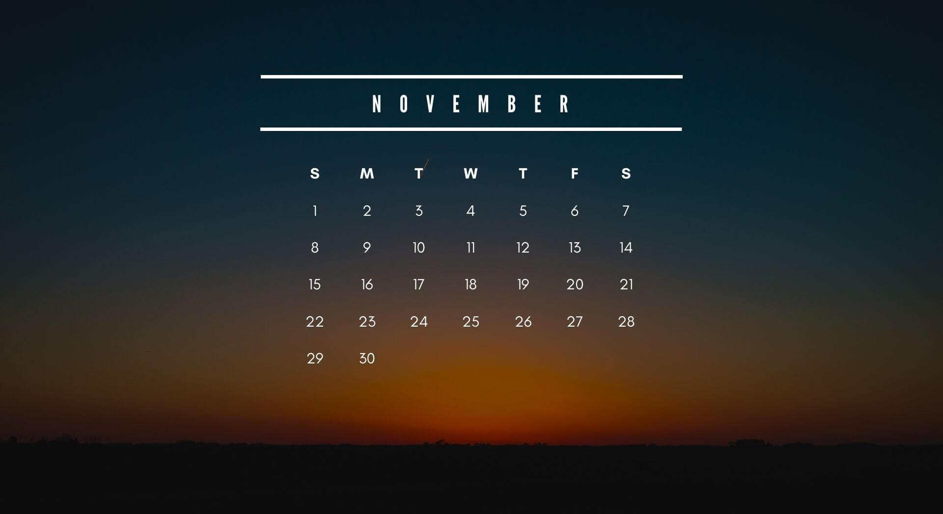 November 2020 Calendar Screensaver