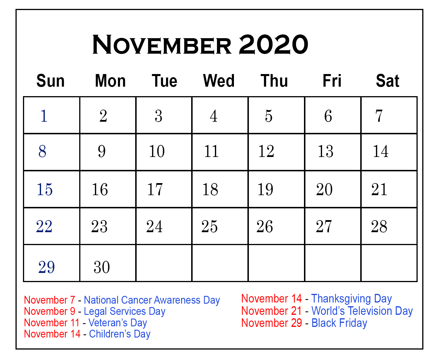 November 2020 Calendar with Holidays