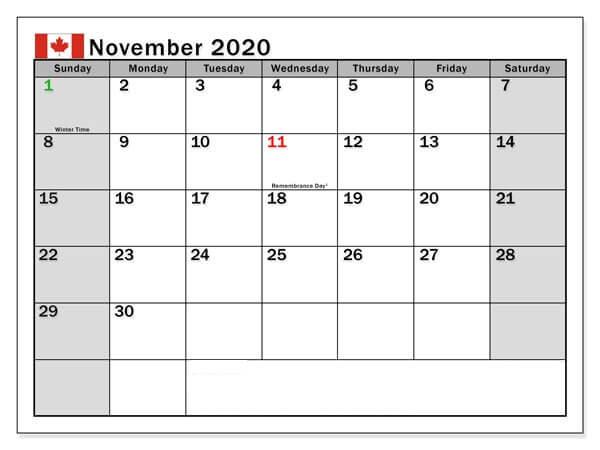 November 2020 Canada Holidays Calendar