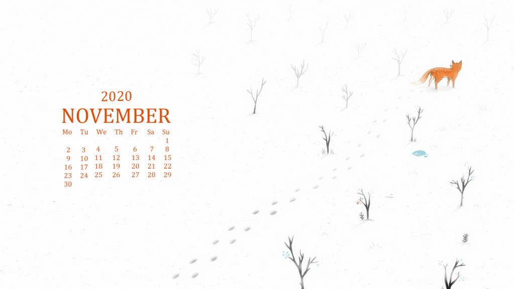 November 2020 Desktop Background Calendar