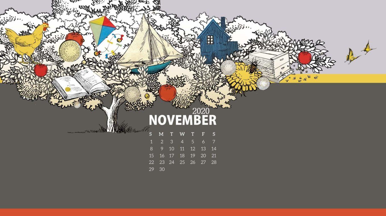 November 2020 Desktop Calendar Wallpaper