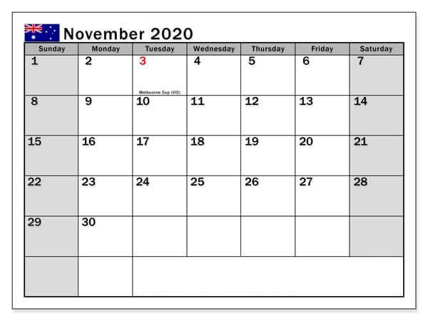 November 2020 Holidays Calendar Australia