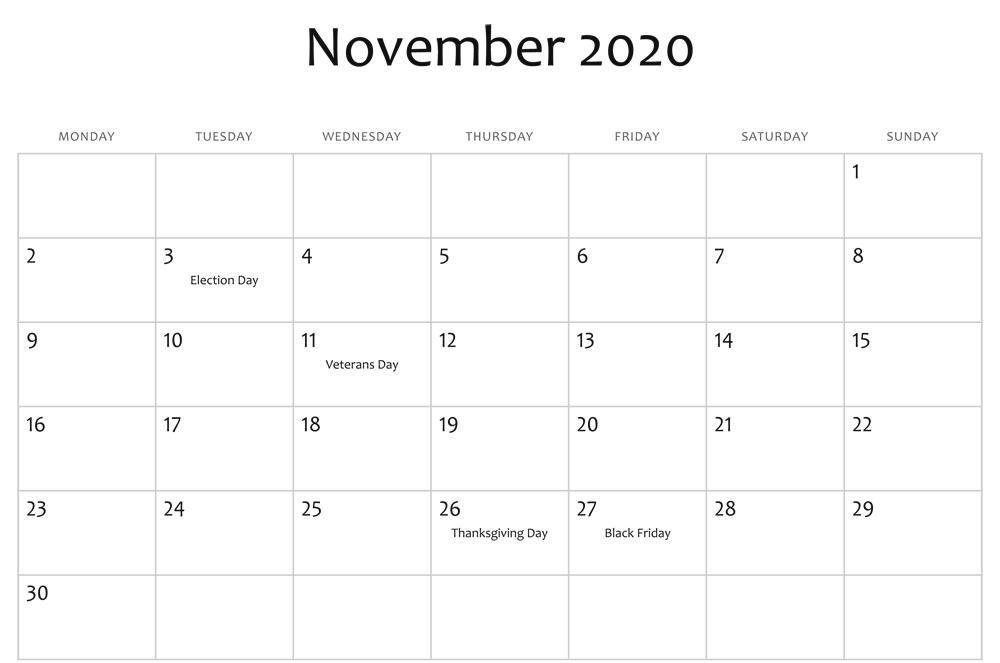 November 2020 Holidays Calendar