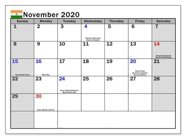 November 2020 Indian Holidays Calendar