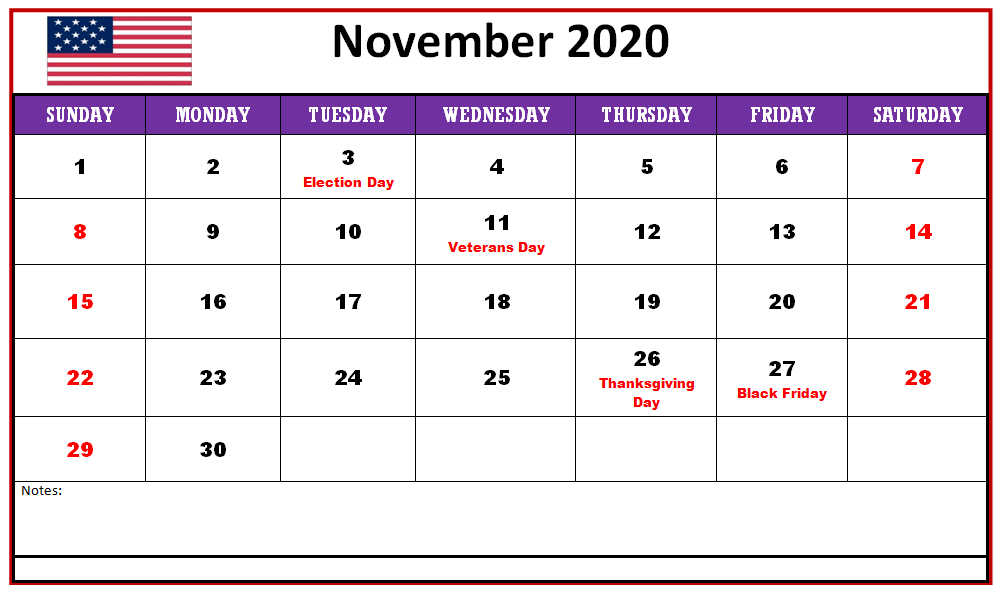 November 2020 USA Holidays Calendar