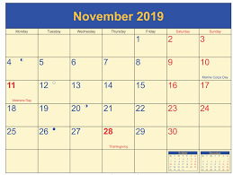 November Calendar 2019 With Holidays