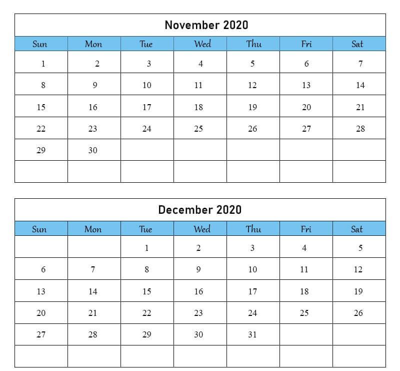 November December 2020 Calendar Blank Template