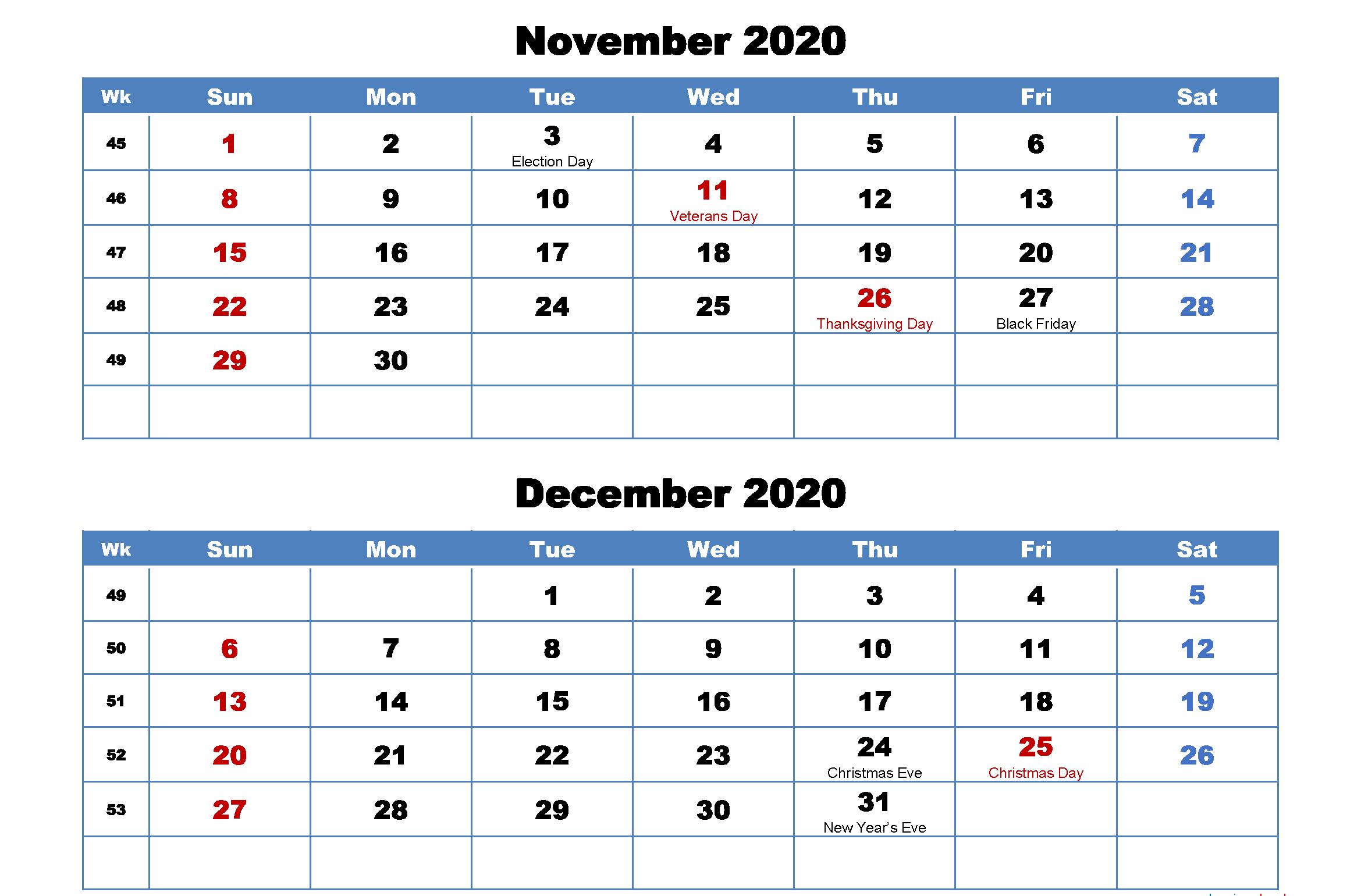 November December 2020 Calendar Blank