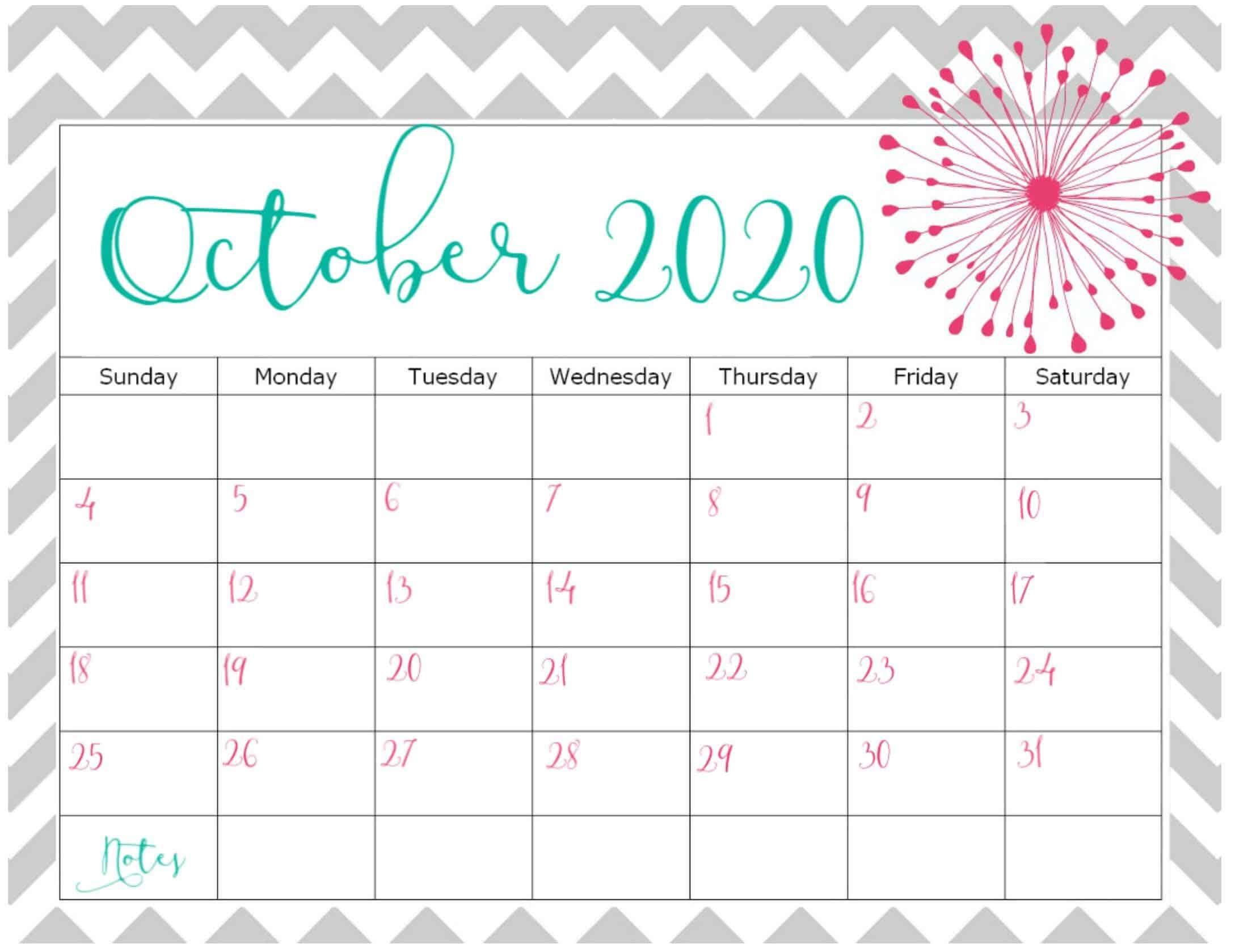 October 2020 Calendar Printable Template