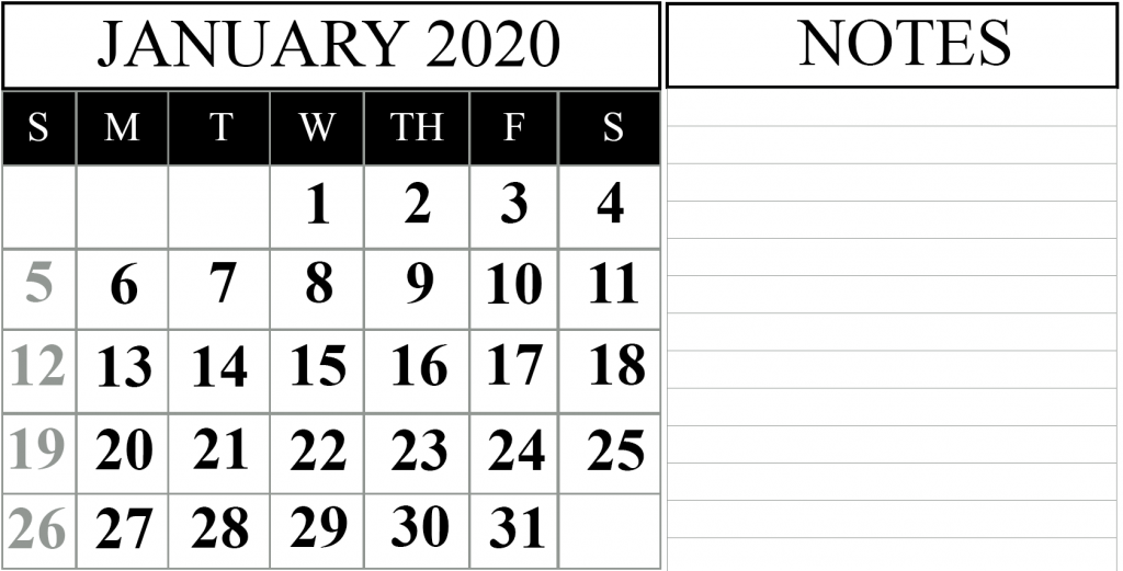Online January 2020 Calendar with Notes