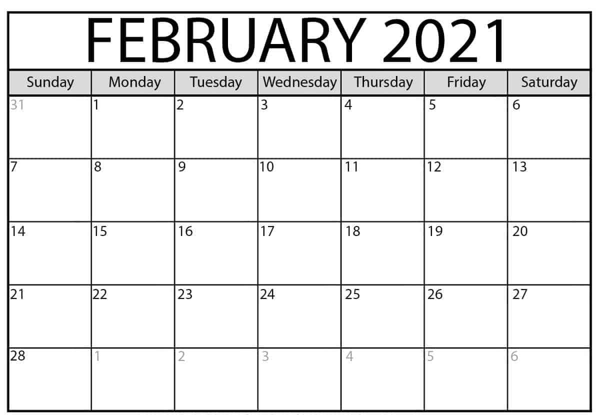 Print February 2021 Calendar Blank
