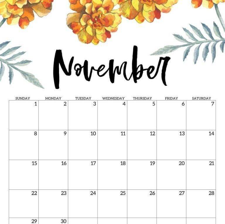 Print November 2020 Wall Calendar