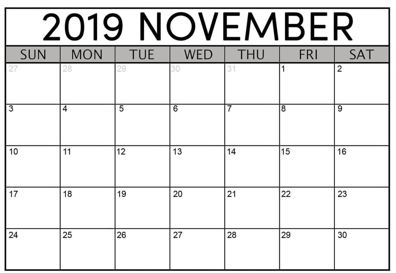 Printable November 2019 Blank Calendar