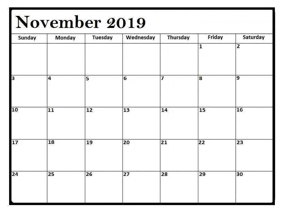 Printable November 2019 Calendar PDF