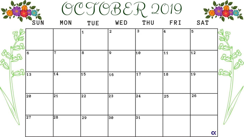 Printable October 2019 Calendar PDF Template