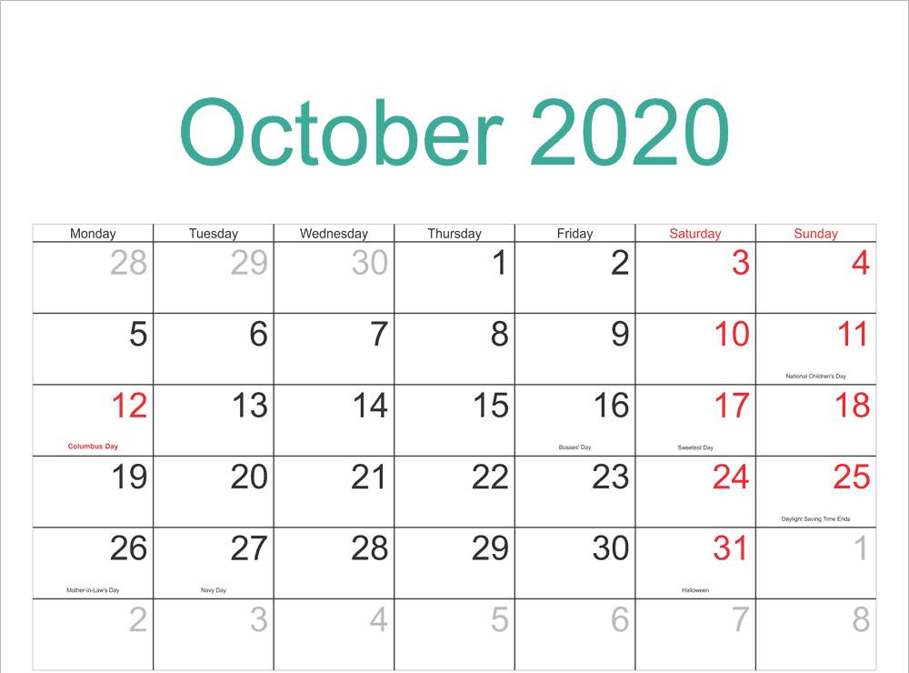 Printable October 2020 Holidays Calendar