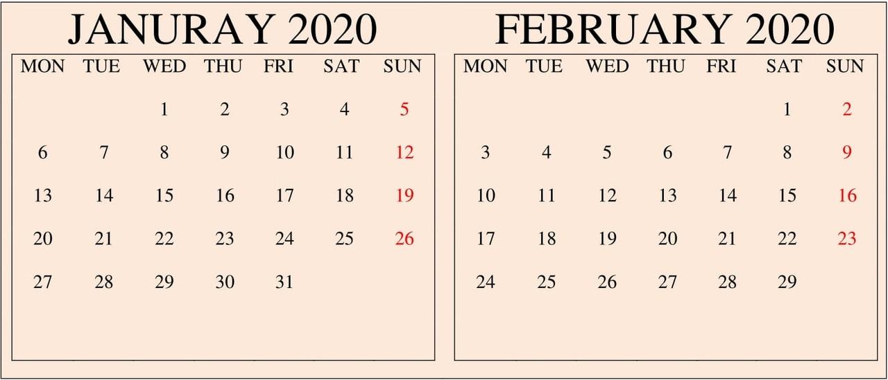 2-Month January February 2020 Calendar