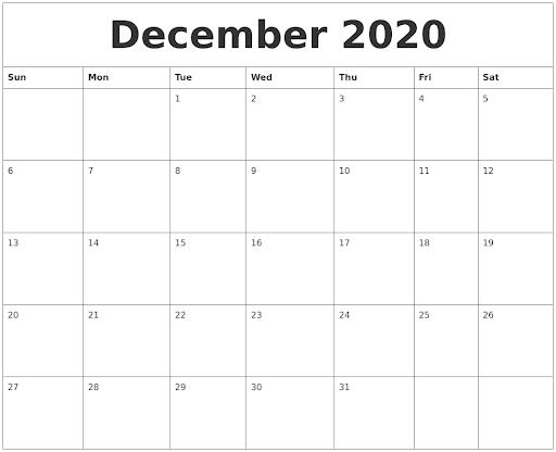 2020 December Blank Calendar Editable
