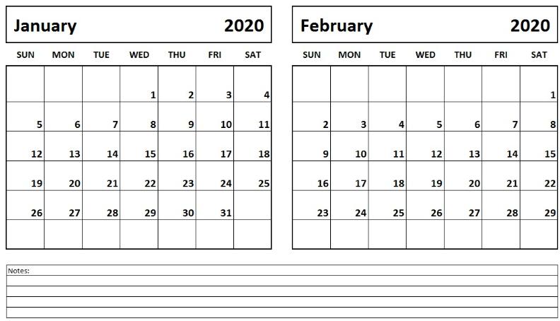 2020 January February Calendar