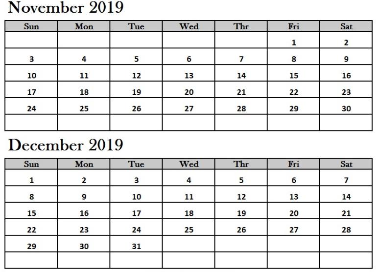 2019 November December Calendar Template
