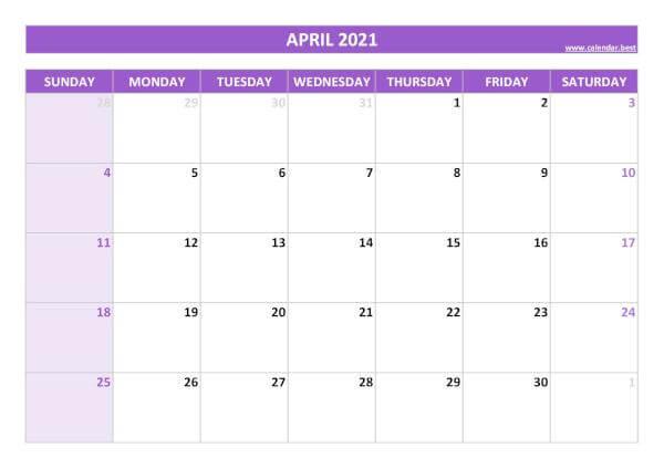 2021 April Calendar Excel
