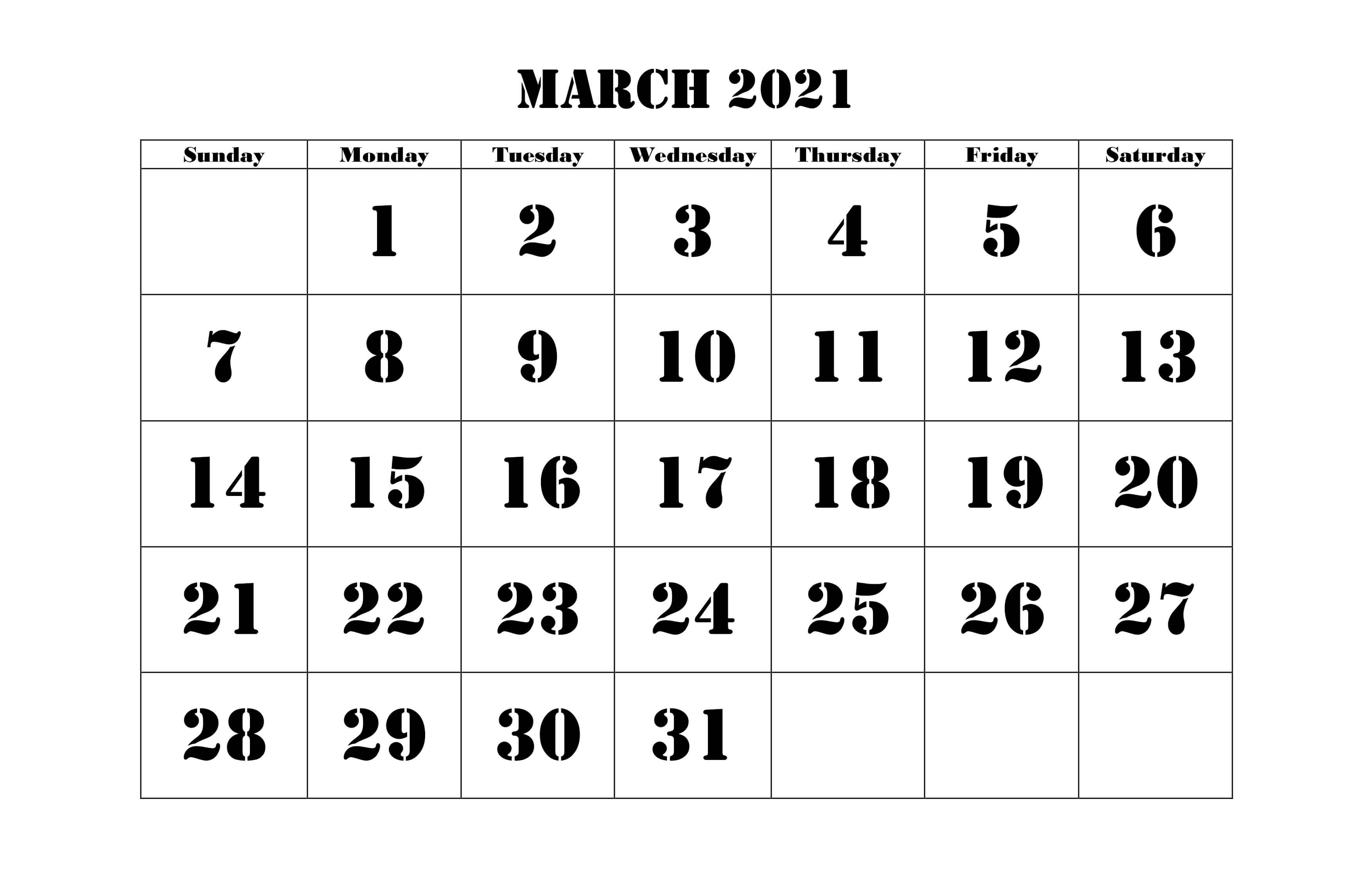 2021 March Calendar PDF