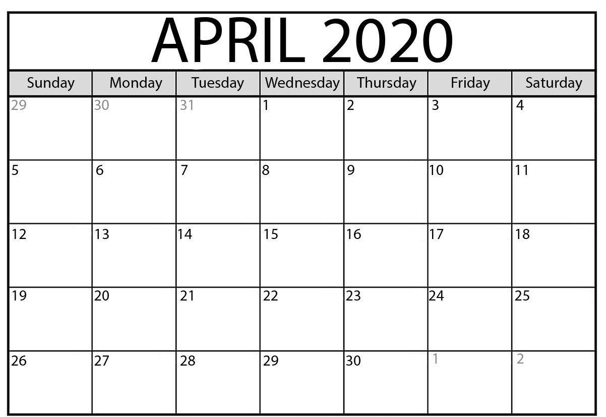 April 2020 Calendar Printable.Free April 2020 Calendar Blank Printable Template